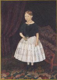 Portrait d'une fillette tenant