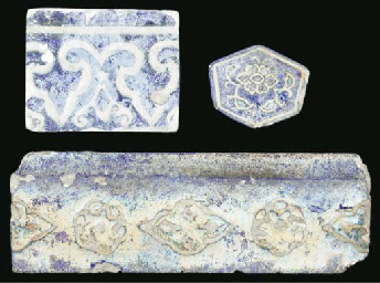 Three blue and white moulded p