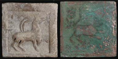 Six various pottery tiles, Afg