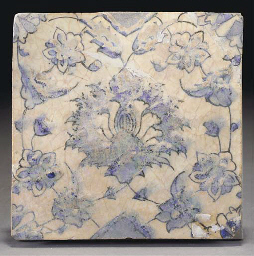 A Safavid blue, black and whit