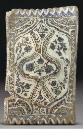 A Qajar black, blue and white