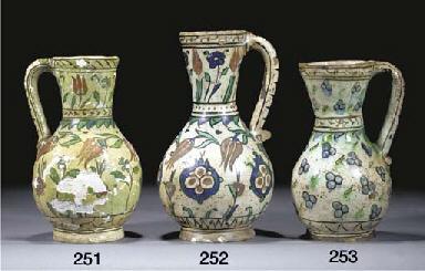 An Iznik pottery jug, 17th cen