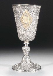 An Indian silver and gilt gobl