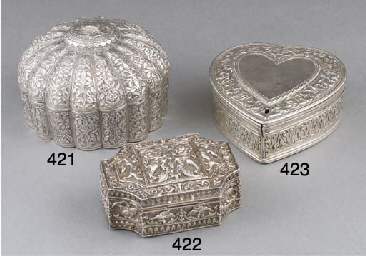 An Indian silver repousse box
