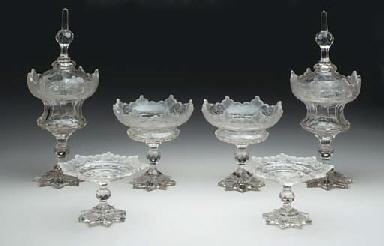 A CUT-GLASS GLASS TABLE GARNIT