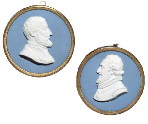 TWO GILT-COPPER MOUNTED SEVRES