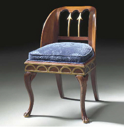 A MAHOGANY AND PARCEL-GILT CHA