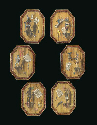A SET OF SIX OCTAGONAL TROMPE