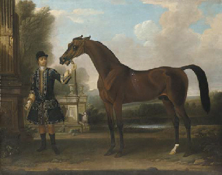 Bay Bolton, held by a groom, i