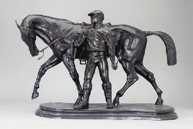 Horse with jockey dismounted