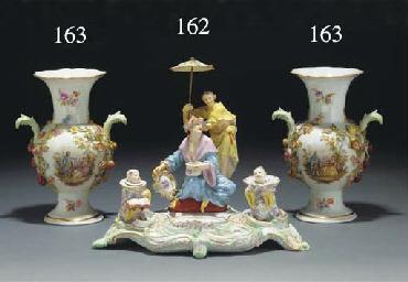 A Meissen chinoiserie desk-set