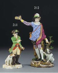 A Meissen figure of a hunter a