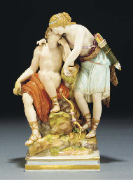 A Meissen group of Diana and E