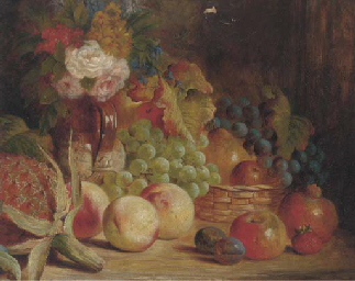 Grapes, apples, peaches, roses