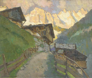 Grodner-Tal, with the Alps bey