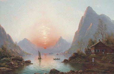 A fjord at sunset; and a winte