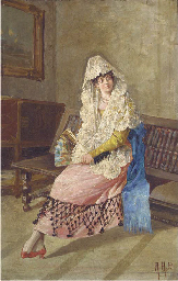 A seated lady in lady in spani
