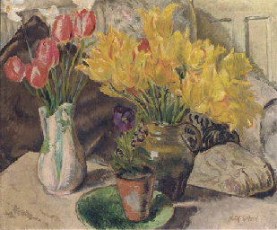 Still life of two jugs with tu