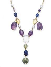 A MULTI-GEM AND GOLD NECKLACE