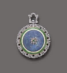 A BELLE EPOQUE ENAMEL, DIAMOND