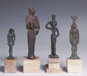 FOUR EGYPTIAN BRONZE FIGURES