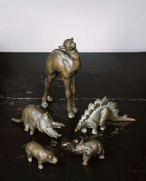 FIVE SMALL BRONZE FIGURES OF A