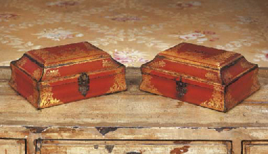A PAIR OF SCARLET AND GILT-JAP