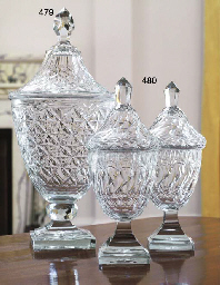 A PAIR OF CUT-GLASS GLASS JARS