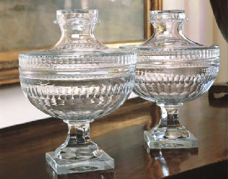 A PAIR OF CUT-GLASS BOWLS AND