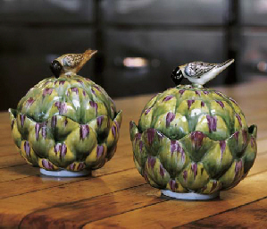 TWO CHELSEA PORCELAIN ARTICHOK