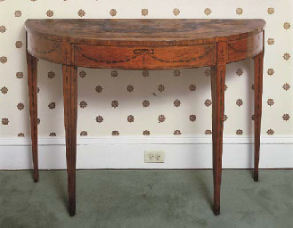 A GEORGE III PAINTED SATINWOOD