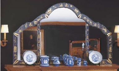 A QUEEN ANNE STYLE GILT AND BL