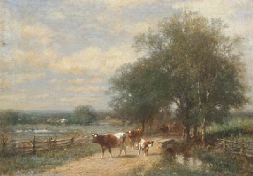 Cows on a lane in a landscape