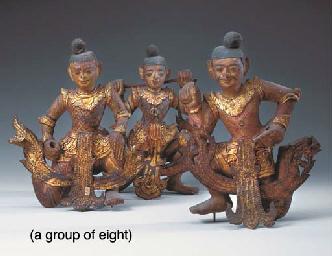 Eight Thai Polychromed and Gil