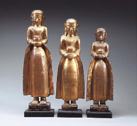 Three Burmese Gilt and Lacquer