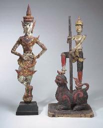 Two Burmese Polychromed-Wood F