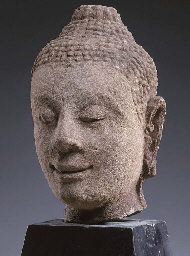 A Thai Sandstone Head of Buddh