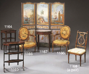 A PAIR OF LOUIS XVI STAINED-BE