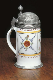 A GERMAN OPAQUE PEWTER MOUNTED