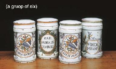 SIX ITALIAN MAIOLICA DRUG JARS