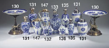 Five blue and white silver-mou