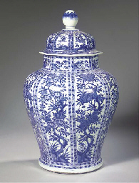 A fine large blue and white baluster jar and cover
