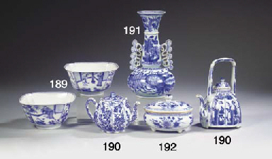 Two blue and white teapots and