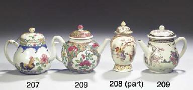 A famille rose salt and a tea-