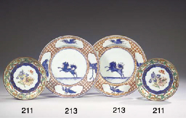 A pair of enamelled and gilt '
