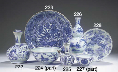 A blue and white bowl and two