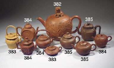 A group of six Yixing teapots
