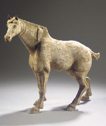 A painted grey pottery model o