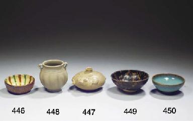 A sancai-glazed shallow bowl