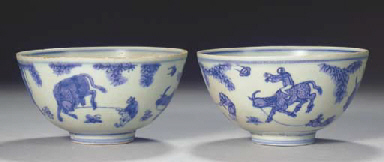 A PAIR OF MING BLUE AND WHITE